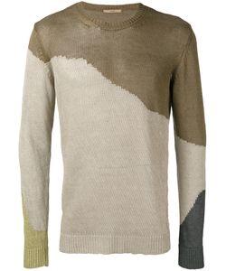 Roberto Collina | Colour Block Jumper Mens Size 48 Linen/Flax