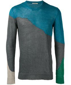 Roberto Collina | Colour Block Jumper Mens Size 50 Linen/Flax