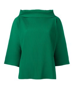 Issey Miyake Cauliflower | Ribbed Wide Funnel Neck Top Womens Polyester