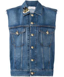 Sonia Rykiel | Sleeveless Denim Jacket Womens Size 40 Cotton/Lyocell/Polyamide/Pvc