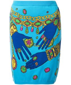 Moschino   Hands And Jewels Skirt Womens Size 40 Cotton