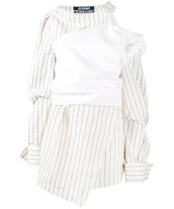 Jacquemus   Stripe Asymmetric Dress Womens Size 40 Linen/Flax/Cotton