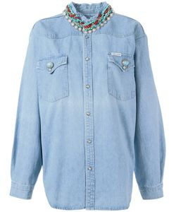 Forte Couture | Stoned Collar Denim Shirt Womens Size Xs Cotton