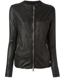 Giorgio Brato   Zip Up Jacket Womens Size 42 Leather/Cotton/Nylon