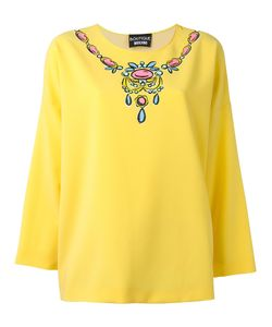 Boutique Moschino | Necklace Print Blouse Womens Size 46 Elastodiene/Polyester