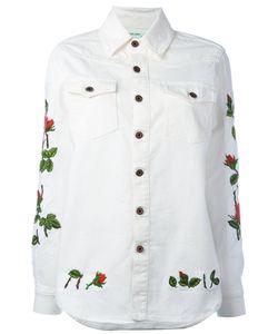 Off-White | Rose Embroide Denim Shirt Womens Size Medium Cotton/Spandex/Elastane