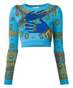 Moschino   Hands And Jewels Cropped Jumper Womens Size 40 Cotton