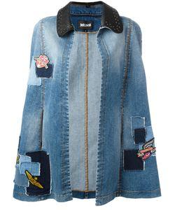 Just Cavalli | Denim Patchwork Cape Womens Size 40 Cotton/Spandex/Elastane/Polyurethane/Cotton