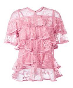 Elie Saab | Ruffled Lace Blouse Size 40 Silk/Nylon/Polyamide/Polyester
