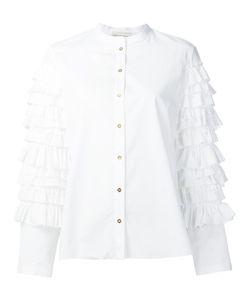 Maison Rabih Kayrouz   Ruffle Sleeve Shirt Womens Size 38 Cotton