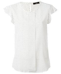 Steffen Schraut   Squares Print Blouse Womens Size 38 Silk/Spandex/Elastane