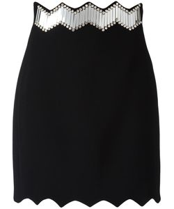 David Koma | Zig-Zag Trim Skirt Womens Size 10 Acrylic/Spandex/Elastane/Viscose/Glass
