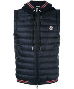 Moncler | Striped Trim Hooded Waistcoat Mens Size Large Polyamide/Cotton/Feather Down