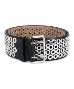 Alaïa | Eyelet Embellished Leather Belt Womens Size 75 Leather/Metal