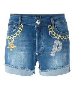 Philipp Plein | Embroide Denim Shorts Womens Size 25 Cotton/Spandex/Elastane