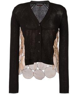 Rochas | Silk Panel Cardigan Womens Size 40 Cotton/Polyamide/Silk