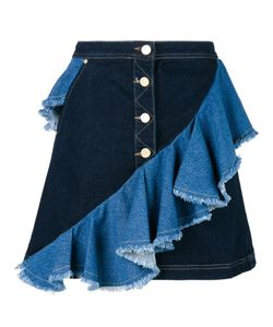 House Of Holland | Frilled Denim Skirt Womens Size 10 Cotton/Spandex/Elastane