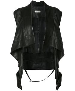 Faith Connexion | Waterfall Waistcoat Womens Size 36 Leather/Cotton