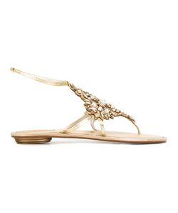 Rene Caovilla | René Caovilla Stone Embellished Sandals Womens Size 39 Leather/Stone