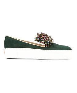 Elie Saab | Beads Trim Slippers Womens Size 39 Leather/Suede/Rubber/Polyester