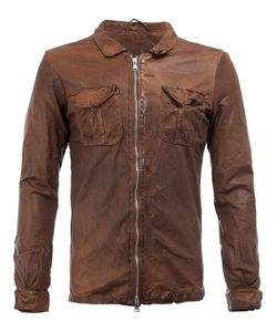 Giorgio Brato   Zipped Shirt Jacket Mens Size 54 Cotton/Leather