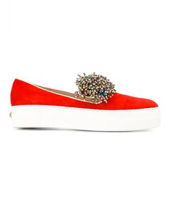 Elie Saab | Beads Trim Slippers Womens Size 36 Leather/Suede/Rubber/Polyester