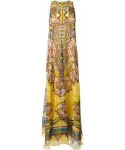 Roberto Cavalli | Printed Maxi Dress Womens Size 42 Silk/Metal/Polyester