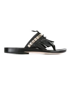 Calleen Cordero | Studded Fringed Sandal Womens Size 8.5 Calf Leather/Leather
