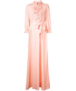 Boutique Moschino | Ruffled Trim Long Dress Womens Size 44 Silk/Rayon