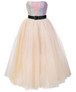 Natasha Zinko   Sleeveless Brocade Tulle Dress Womens Size 38 Polyester/Polyamide