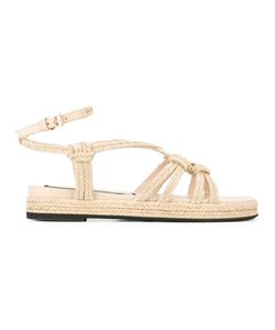 No21   Braided Flat Sandals Womens Size 40 Calf Leather/Leather/Rubber/Raffia