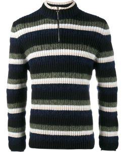 Helen Lawrence | Striped Half-Zip Jumper Mens Size Large Lambs Wool/Wool/Mohair/Polyamide