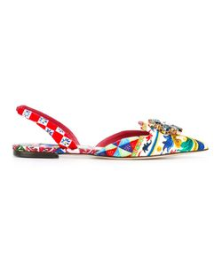 Dolce & Gabbana | Bellucci Slippers Womens Size 39 Calf Leather/Leather/Cotton