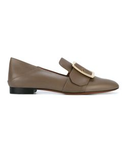 Bally   Buckle Front Loafers Womens Size 39 Calf Leather/Leather