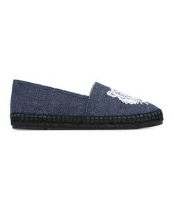Kenzo | Tiger Embroide Espadrilles Womens Size 36 Cotton/Straw/Rubber/Leather