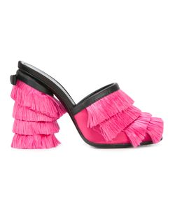 Marco de Vincenzo | Fringed Mules Womens Size 38 Nylon/Leather