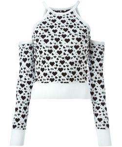Maria Ke Fisherman   Heart Intarsia Off-Shoulder Sweater