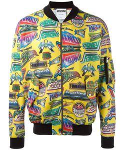 Moschino   Printed Bomber Jacket Mens Size Medium Polyester