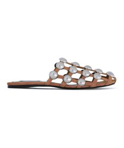 Alexander Wang | Amelia Flat Sandals Womens Size 40 Leather/Metal Other