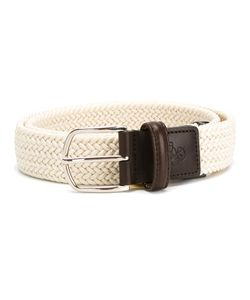 Canali | Elastic Woven Belt Mens Size 85 Polyester/Leather