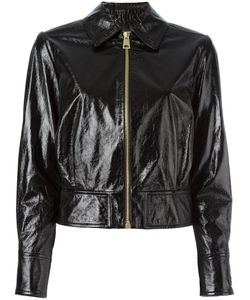 Lanvin | Cracked Leather Jacket Womens Size 38 Lamb Skin/Cupro/Acetate