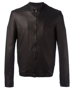 Salvatore Santoro | Banded Collar Leather Jacket Mens Size 50 Leather