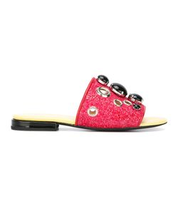 Toga Pulla | Embellished Flat Sandals Womens Size 40 Calf Leather/Pvc/Leather