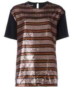 Rochas | Sequin Stripe Blouse Womens Size 40 Polyester/Silk/Viscose/Spandex/Elastane