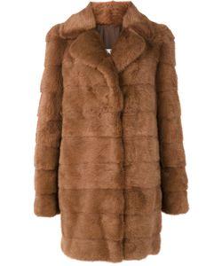 Yves Salomon | Mid Length Coat Womens Size 36 Silk/Mink Fur/Goat
