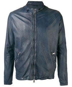 Giorgio Brato   High Neck Leather Jacket Mens Size 52 Leather/Cotton