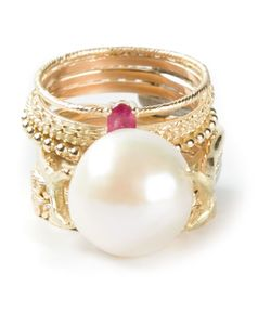 Wouters & Hendrix Gold   Pearl Ruby Set Of 9 Rings