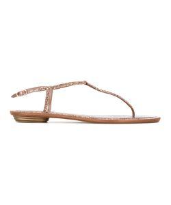 Rene Caovilla | René Caovilla Crystal Strap Sandals Womens Size 40 Leather/Satin