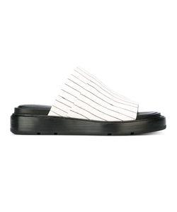 Donna Karan | Striped Slider Sandals Womens Size 6.5 Rubber/Leather