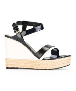 Lanvin | Patent Wedge Sandals Womens Size 39 Leather/Patent Leather/Raffia
